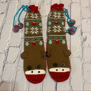 Sock Monkey Slipper Socks by Nick & Nora NWOT